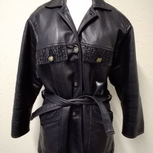 Black leather GV ladies jacket handmade in Italy
